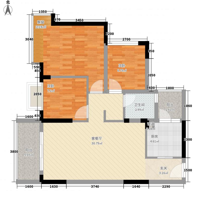 里维埃拉88.40㎡5E型户型2室2厅1卫