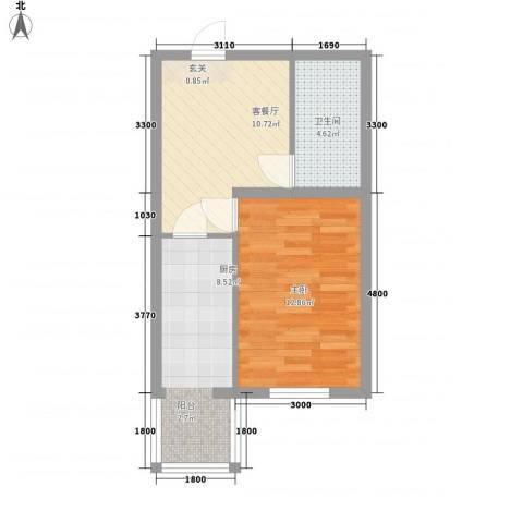 祥合林苑1室1厅1卫1厨36.73㎡户型图