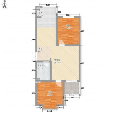 青青学邻2室1厅1卫0厨68.43㎡户型图