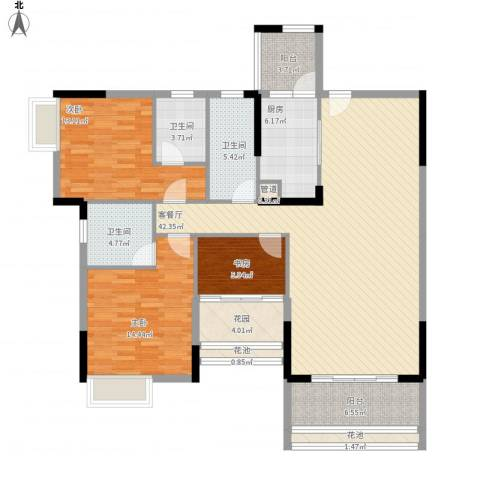 乐雅苑3室1厅3卫1厨162.00㎡户型图