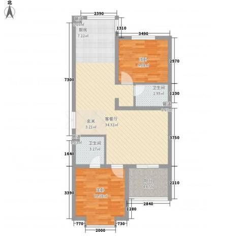 青青学邻2室1厅2卫0厨65.87㎡户型图
