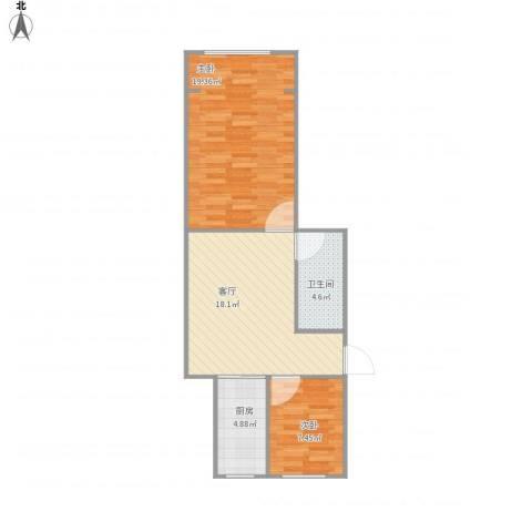芦席营小区2室1厅1卫1厨73.00㎡户型图