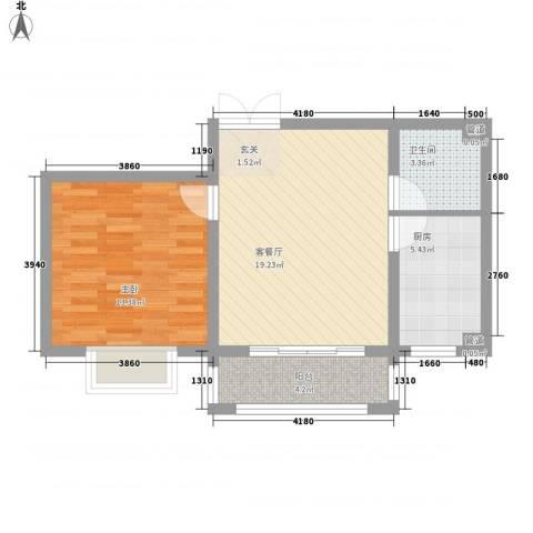 青青学邻1室1厅1卫1厨64.00㎡户型图