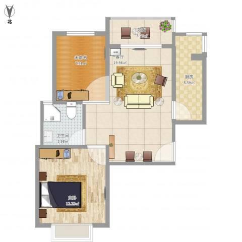 金色花语城1室1厅1卫1厨75.00㎡户型图