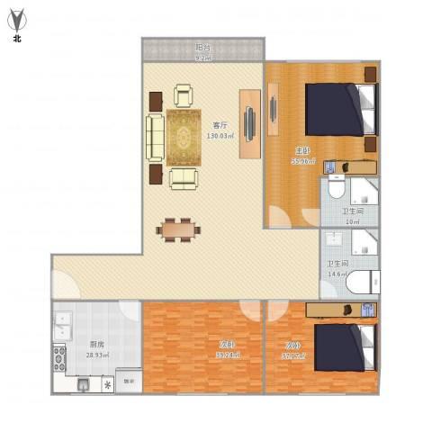 古龙小区3室1厅2卫1厨422.00㎡户型图