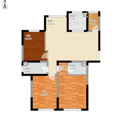 金海名园3室1厅2卫1厨125.00㎡户型图
