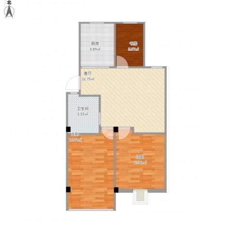 清林闲庭3室1厅1卫1厨75.51㎡户型图