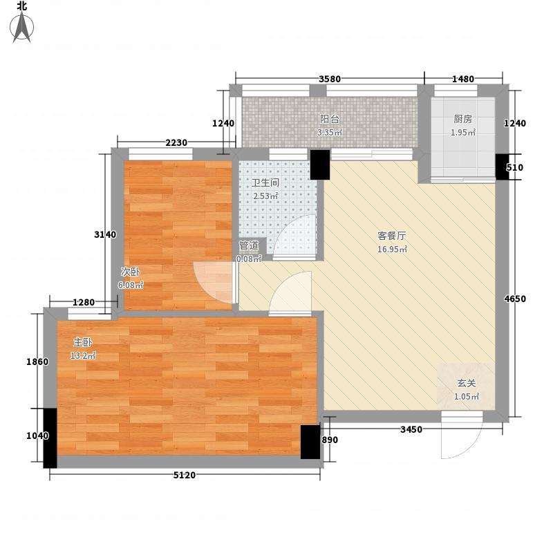 帝景名筑66.00㎡2座02户型2室2厅1卫1厨