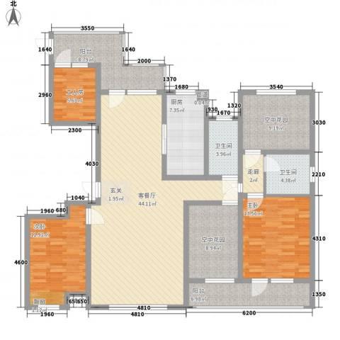 龙达新天地2室1厅2卫1厨146.00㎡户型图