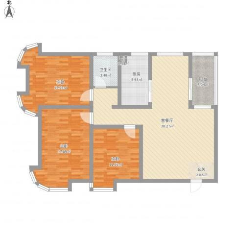 澜湾盛景3室1厅1卫1厨110.79㎡户型图
