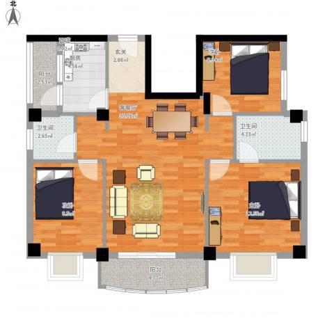 翔鹭花城新生活3室1厅2卫1厨113.00㎡户型图