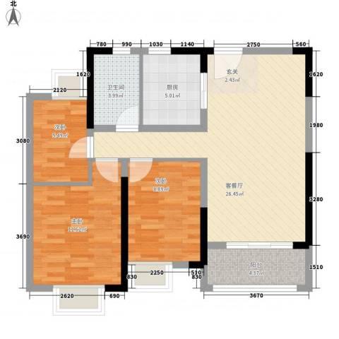 保利・观湖国际3室1厅1卫1厨95.00㎡户型图