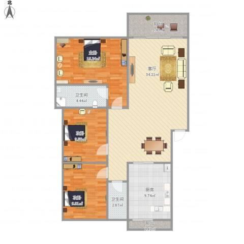 顺宝花园nu356533室1厅2卫1厨125.00㎡户型图