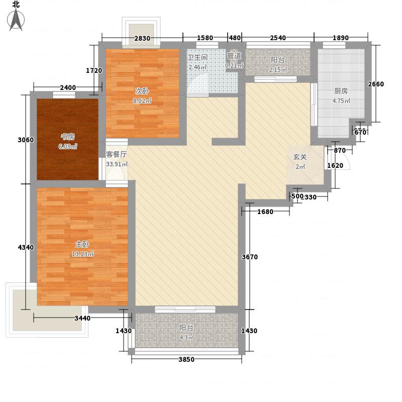 第五元素111.00㎡C3-2户型3室2厅1卫1厨