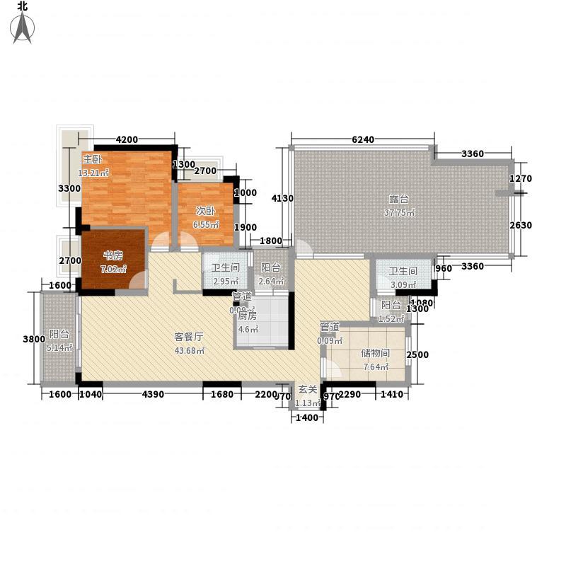 里维埃拉12.80㎡10H型户型2室3厅2卫