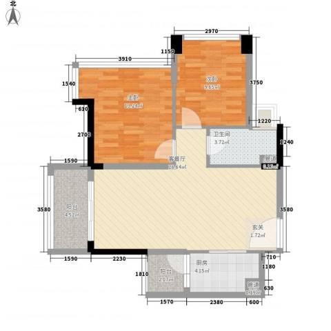 益田大运城邦2室1厅1卫1厨83.00㎡户型图