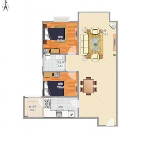 旭景崇盛园2室1厅1卫1厨94.00㎡户型图