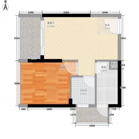 益田大运城邦1室1厅1卫1厨52.00㎡户型图