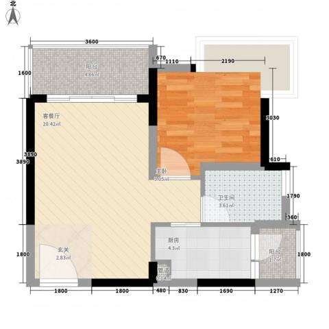 益田大运城邦1室1厅1卫1厨44.07㎡户型图