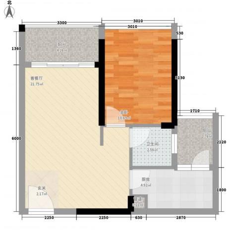 益田大运城邦1室1厅1卫1厨47.16㎡户型图