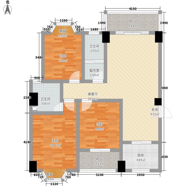 城南书苑124.54㎡户型3室2厅2卫1厨