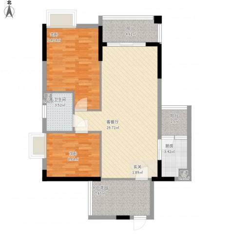 华宇大厦2室1厅1卫1厨106.00㎡户型图