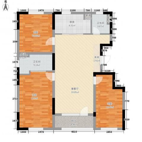 朗诗国际街区3室1厅2卫1厨135.00㎡户型图