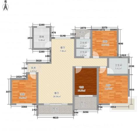 新城国际4室1厅3卫1厨166.00㎡户型图