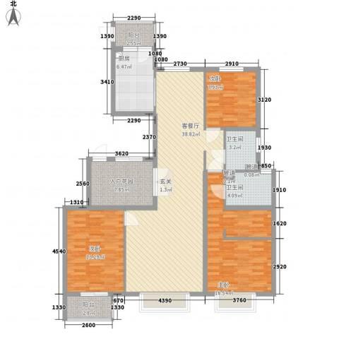 皇家壹里3室1厅2卫1厨136.00㎡户型图