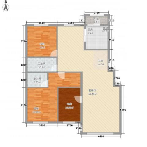 联通格林小镇3室1厅2卫1厨124.98㎡户型图