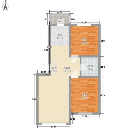 锦山秀城2室1厅1卫0厨87.00㎡户型图