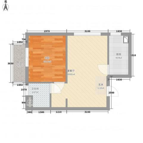 皇家壹里1室1厅1卫1厨55.00㎡户型图