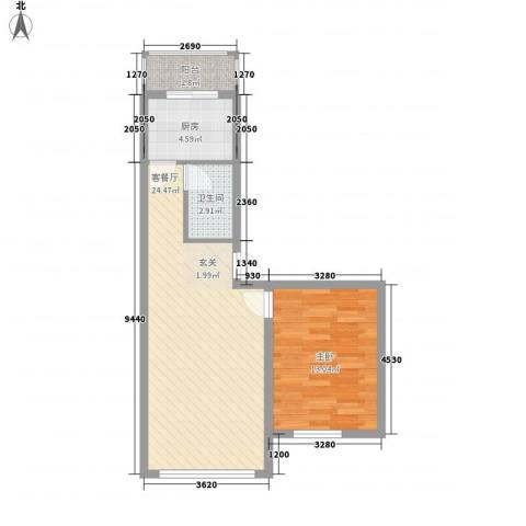 锦山秀城1室1厅1卫1厨68.00㎡户型图