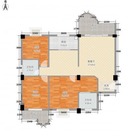 幸福里3室1厅2卫1厨144.00㎡户型图