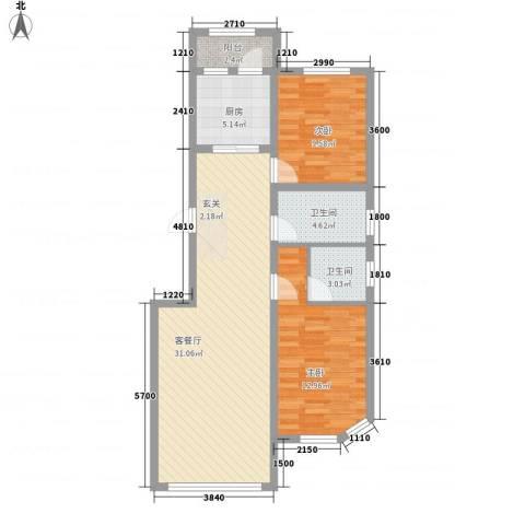 联通格林小镇2室1厅2卫1厨79.05㎡户型图