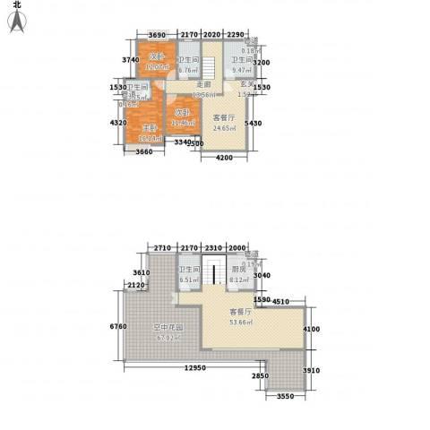 杏坛中心城3室2厅4卫1厨236.00㎡户型图