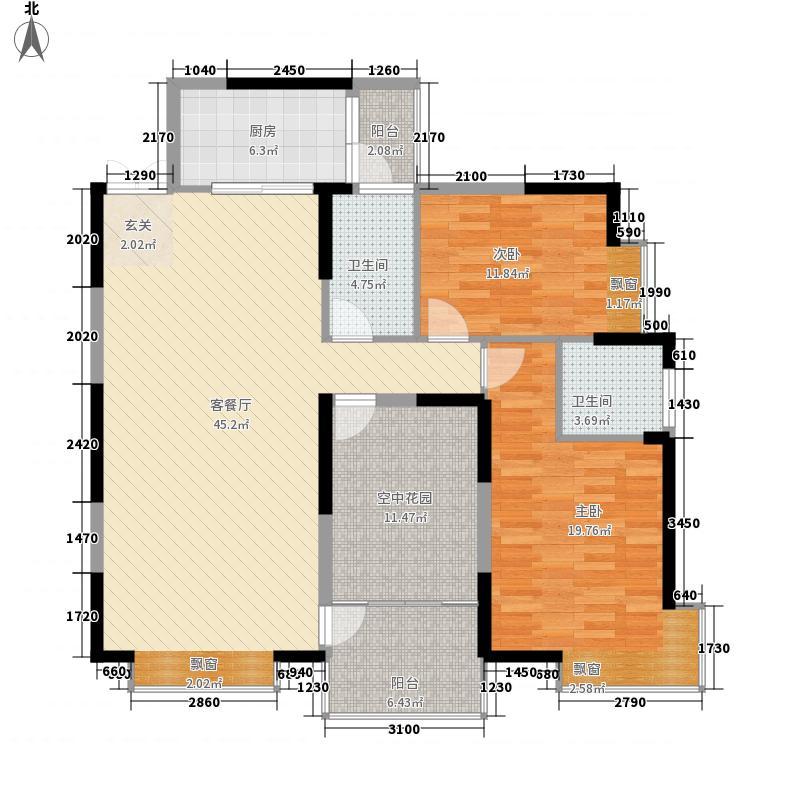 湘水明珠131.50㎡A栋01户型3室2厅2卫1厨