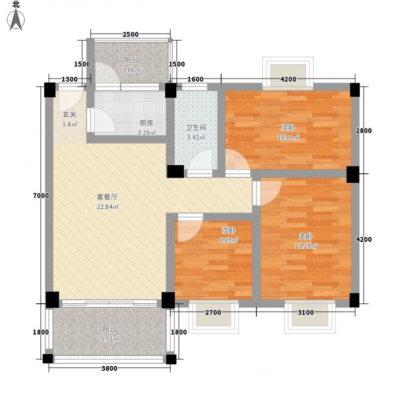 御翠轩87.80㎡01、02户型3室2厅1卫1厨