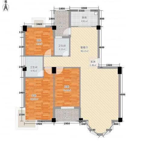 幸福里3室1厅2卫1厨147.00㎡户型图