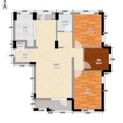 唯美品格3室1厅1卫1厨120.00㎡户型图