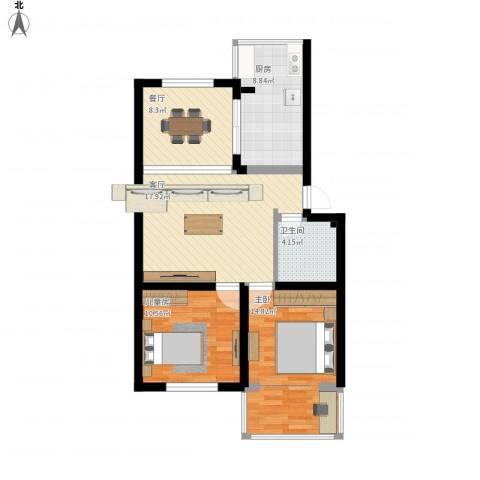 清泰小区2室2厅1卫1厨75.80㎡户型图