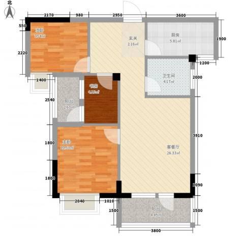 学府丽城3室1厅1卫1厨94.00㎡户型图