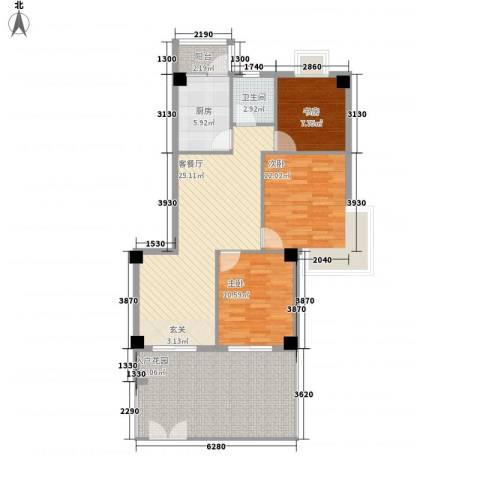国际风情3室1厅1卫1厨122.00㎡户型图