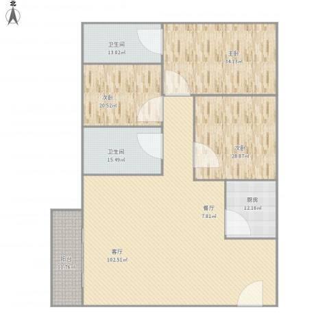 颐景花园A5栋1单元9043室1厅2卫1厨312.00㎡户型图
