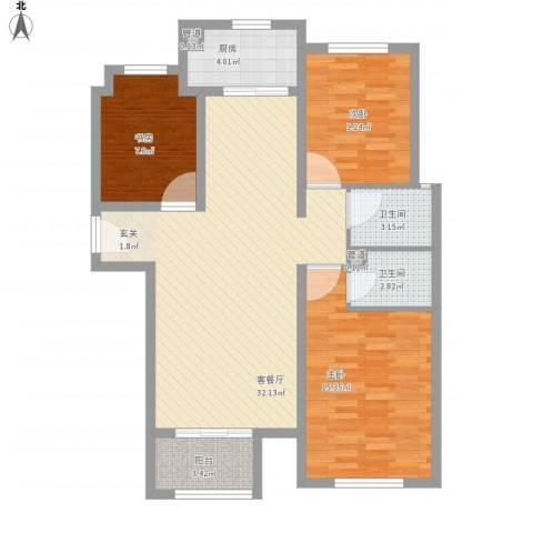 大川世纪城3室1厅2卫1厨112.00㎡户型图