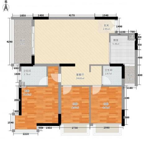 海韵华庭3室1厅2卫1厨122.00㎡户型图