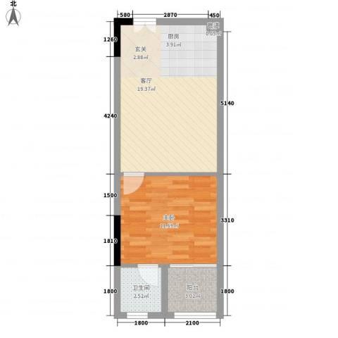 海韵华庭1室1厅1卫0厨36.65㎡户型图