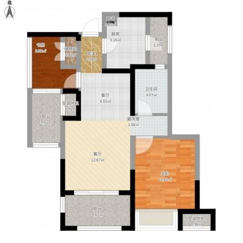 金地格林公馆2室1厅1卫1厨96.00㎡户型图