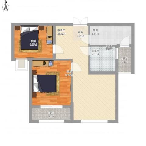 中凯城市之光2室1厅1卫1厨88.00㎡户型图