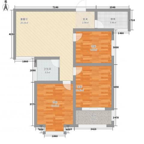 中辰万和城3室1厅1卫1厨68.96㎡户型图
